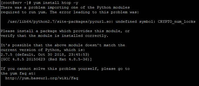 Fix lỗi yum: There was a problem importing one of the Python modules required to run yum