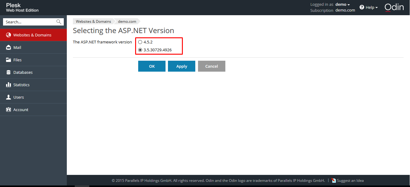 Selecting the ASP.NET Version