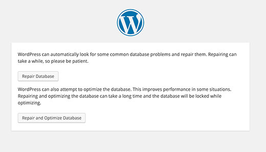 Wordpress repair db